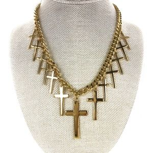 Boho Multi Cross Gold Necklace